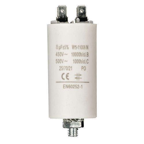 Condensador de arranque para motor electrico 8.0 uF 450 VAC Blanco