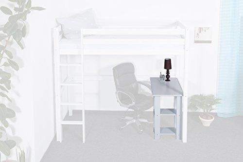 Schreibtisch Dominik Buche Vollholz massiv weiß lackiert für Hochbett Dominik