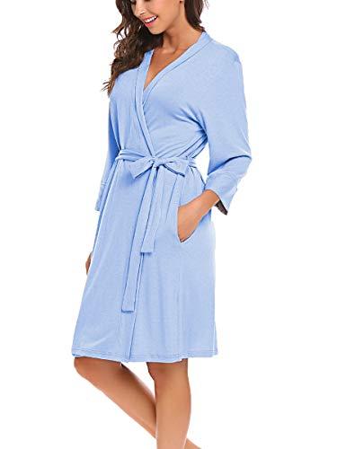 Bluetime Women's Bathrobe Soft Kimono Cotton Knit Robe Piping Sleepwear (M, Blue)