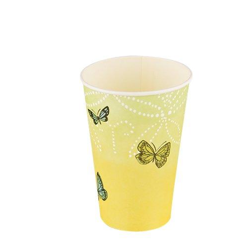 10vasos de papel mariposas sobre amarillo verde/Animales/Primavera/Verano/Cumpleaños 0,2L ø7cm X Altura 9,7cm