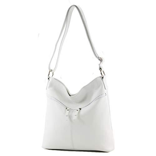 modamoda de - T196 - ital Umhängetasche Schultertasche aus Leder, Farbe:Weiß