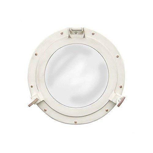 Linoows Espejo Ojo de Buey, Ojo de Buey con Espejo, Aluminio Blanco Antiguo Ø 28CM