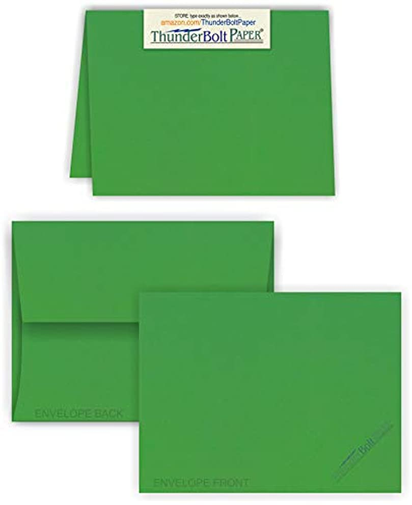 5X7 Folded Size with A-7 Envelopes - Bright Green - 15 Sets (7X10 Cards Scored to Fold in Half) Matching Pack - Invitations, Greeting, Thank Yous, Notes, Holidays, Weddings, Birthdays, Announcements