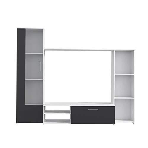 finlandek Meuble TV Mural PILVI Contemporain Blanc et Noir Mat - L 220,4 cm