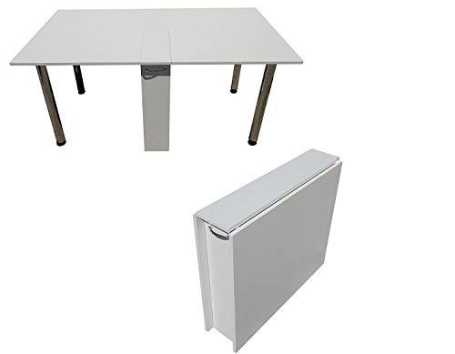 Rodnik Klapptisch - Esstisch - ausklappbar -Tisch klappbar- rollbar - weiß - BÜROTISCH-Funktionstisch