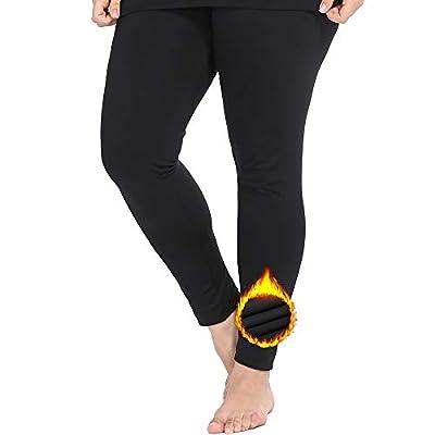 NUONITA Women's Thermal Pants Plus Size Fleece Lined Leggings Underwear Ultra Soft Bottoms?14W, Black?