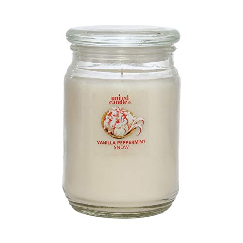Candle Universe Highly Fragranced 18 oz Glass Jar Candles (Vanilla Peppermint Snow)