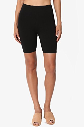TheMogan Women's Mid Thigh Cotton High Waist Active Short Leggings Black XL