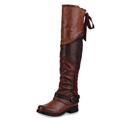 SCARPE VITA Damen Overknees Stiefel Leicht Gefütterte Bikerstiefel Print Boots 173362 Dunkelrot 36