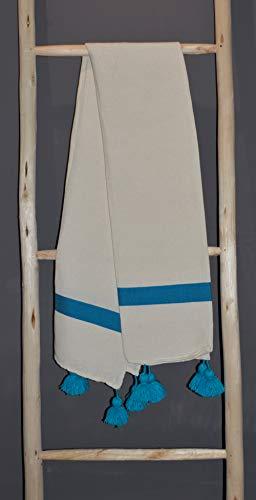 TISLIT Blau-weißer handgewebter Stoff, Sofaüberwurf, Bettüberwurf, Matrosenlook, Handwerkskunst Marokko 150x250 cm