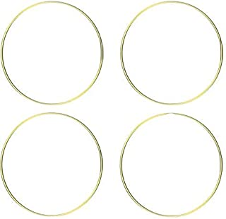 DILNAZ ART 24 inch Metal Floral Hoop Wreath Large Gold Ring 5mm Wire for Christmas Wedding Wall Hanging 5mm Wire (Pack of 4)