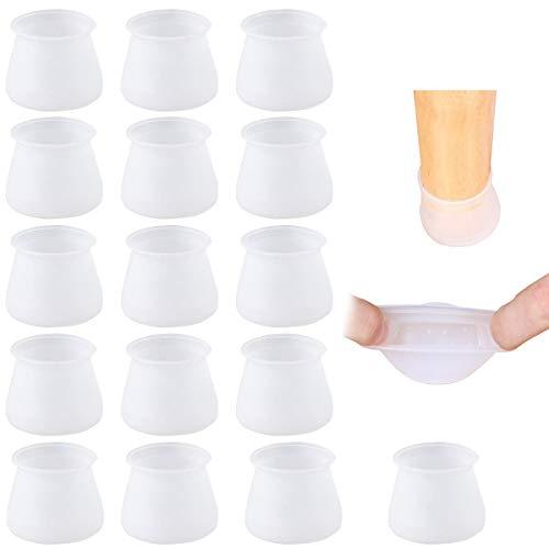 Copertura del Piede della Sedia 16PCS Tappi per Gambe in Silicone Paraspigoli Piedini per Proteggere le Gambe di Sedie Tavoli Mobili Cassetti (Trasparente)