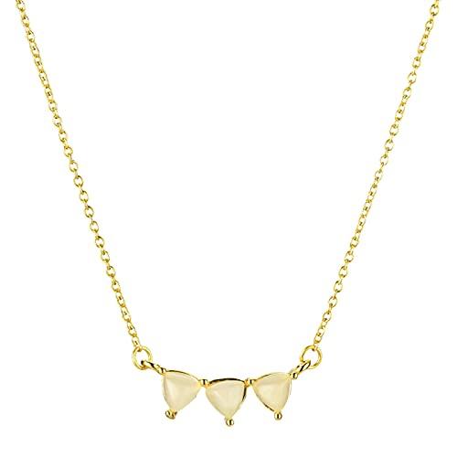 Collar De Cadena De Tres Óvalos De Leche De Oro De Plata De Ley 925, Joyería Simple De Línea Larga Para Mujer Para Regalo De Lujo