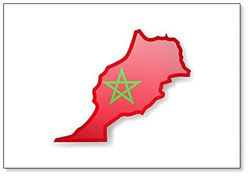 Kühlschrankmagnet Marokko Flagge & Umrisse des Landes, Magnet