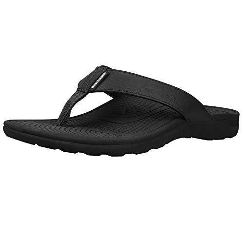 Everhealth Infradito Uomo Ortopediche Sandali Mare Pantofole Sportivi Ciabatte da Spiaggia e Piscine, Sandali per Sostegno dell'Arco Plantare (Black EUR 42)