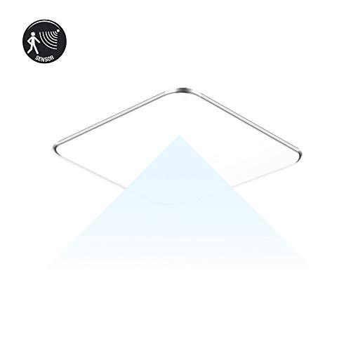 SAILUN 24W Ultra Thin LED Sensor Blanco Frío Lámpara de techo moderna para sala de estar, cocina, dormitorio, baño, hotel - Plata