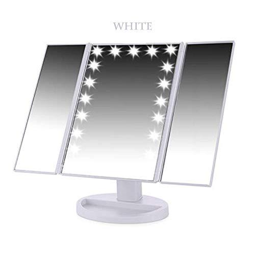 REMIGHTELY Bright Miroir de Maquillage à LED, Miroir d'éclairage Haute définition, Miroir de comptoir Pliable - Loupe 10 Fois (4 Couleurs) (Couleur : Blanc)
