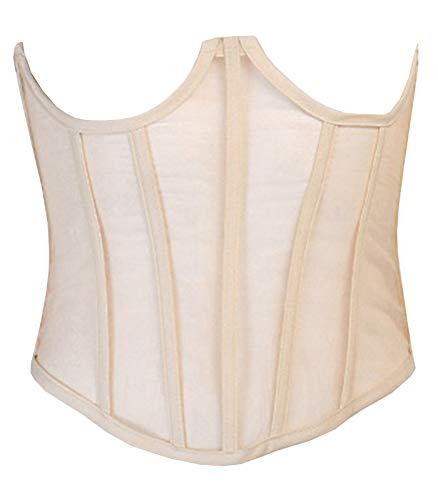Modegal Women's Mesh Underbust Body Shaper Bustier See Through Lace Up Open Back Corset Top (Beige,2-4)