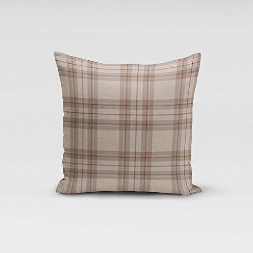 Mooi leven. Kissenhülle Schotse ruiten natuur roze bruin verschillende maten
