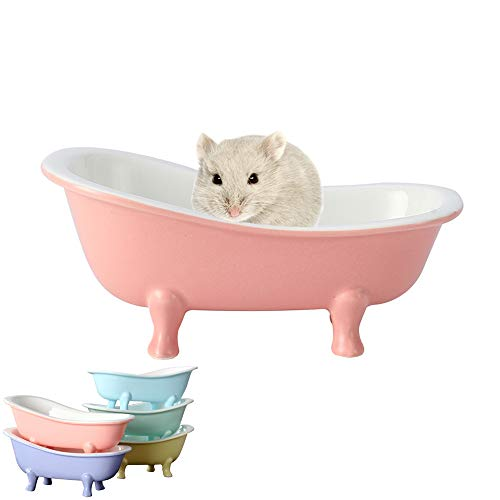 HenryDong Summer Cool Small Animal Hamster Bed, Ice Bathtub Accessories Cage Toys, Ceramic Relax Habitat House, Sleep Pad Nest for Hamster, Food Bowl for Guinea Pigs/Squirrel/Chinchilla