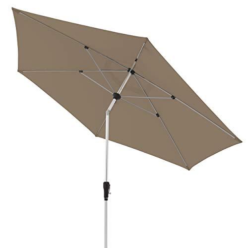 doppler Aluminium Sonnenschirm SL-AZ 330 - Knickbarer Sonnenschutz für Balkon oder Terrasse - ca. 330 cm - Greige-Taupe