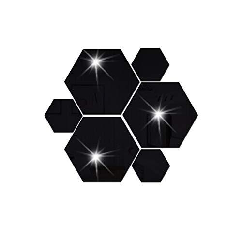 12 unids 3D espejo etiqueta de la pared decoración para el hogar decoración hexagonal DIY extraíble salón decalado arte adornos para el barco de gota a domicilio ( Color : Black , Size : 80x70x40mm )