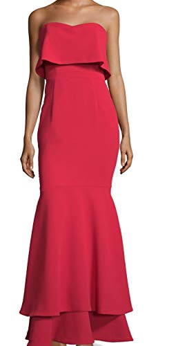 Xscape Womens Crepe Strapless Evening Dress Red 6