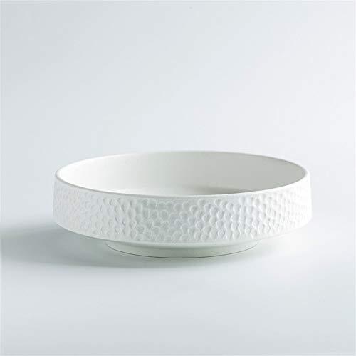 WBFN Schotels Borden, Keramische Hammer-Eyed Deep-Dish Fruit Bowl Creative Gebakken rijst Sushi Plate slakom tafelgerei borden Wit Zwart Round Platter (Color : White)