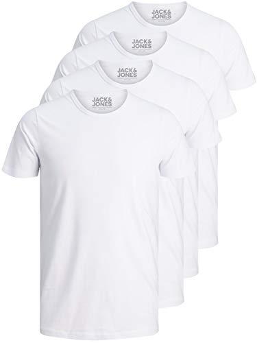 JACK & JONES 4er Pack Herren T-Shirt Basic V-Ausschnitt oder Rundhals einfarbig Slim Fit in weiß schwarz blau grau (4er Pack O weiß, L)