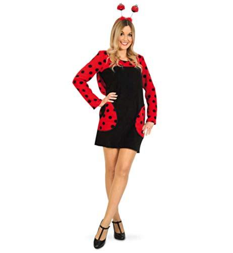 KarnevalsTeufel Marienkäfer Kostüm-Set Kleid Haarreif in rot schwarz (X-Large)