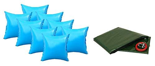 well2wellness® Pool Abdeckplane für Rundbecken 350-360cm Plus 8 Pool Luftkissen mit neuem Ventil
