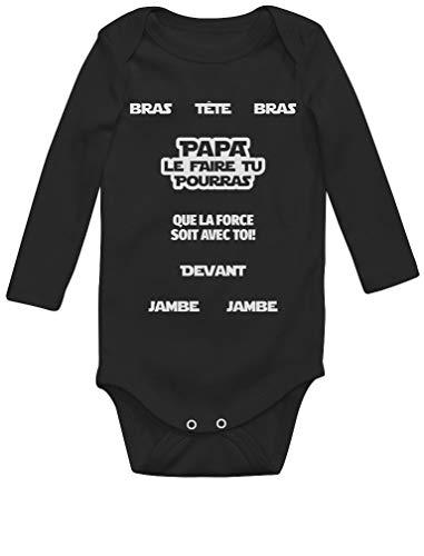Green Turtle Papa tu Peux Le Faire - Parodie - Cadeau pour Papa Body Bébé Manche Longue 6M Noir