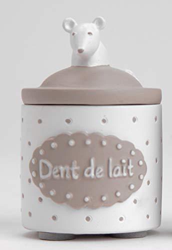Boîte à dent de lait blanche et taupe (taupe et blanche)