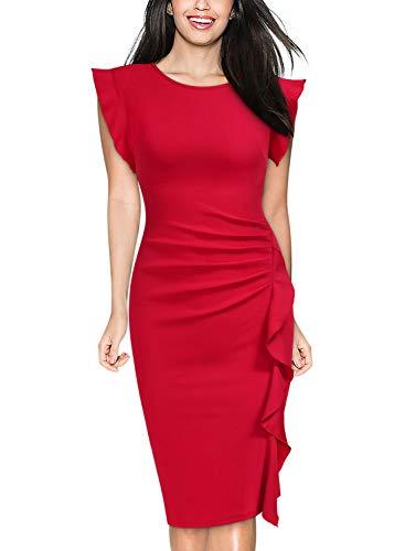 Miusol Women's Retro Ruffles Cap Sleeve Slim Business Pencil Cocktail Dress (Small, Red)