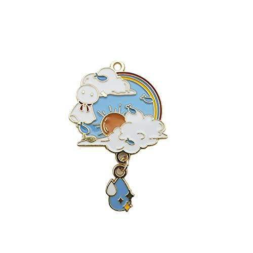 XKMY 6 colgantes colgantes de aleación de aceite de gota de agua con forma de muñeca soleada de dibujos animados, colgantes colgantes colgantes de joyería y pendientes de collar (color metálico: 1)