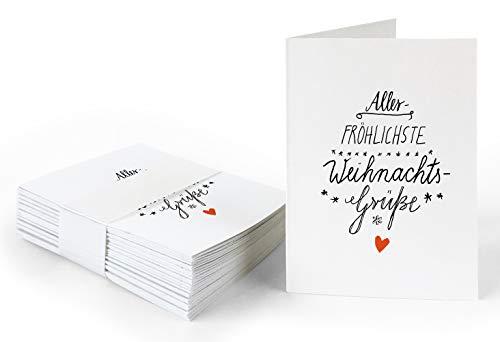 25 Geschenkanhänger aller-fröhlichste Weihnachtsgrüße Weiß, originelle Mini Weihnachtskarten zum Weihnachtsgeschenke Beschriften, edel exklusiv individuell, A7 Recyclingpapier Klappkarten