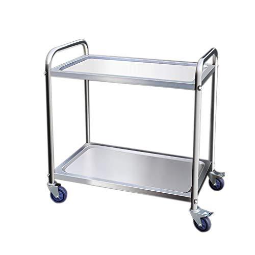 HLLZRY Grande Cucina Che Serve Trolley, Catering Carrello di Servizio Cucina Eliminazione carrelli con Ruote in Acciaio Inox, Argento,2 Tier,80cm