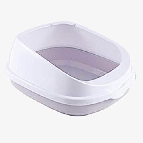 Huisdier toilet LKU Half gesloten hoog hek verwijderbare kattenbak katten toilet huishouden plastic zandbak benodigdheden, grijs, S