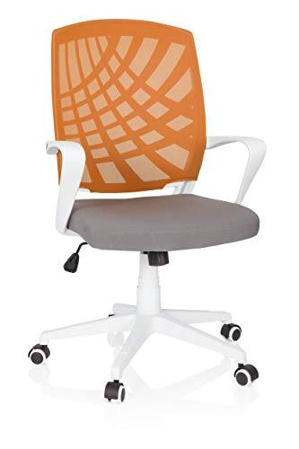 hjh OFFICE 621976 Home-Office Drehstuhl Spring Stoff Grau/Orange bequemer Bürostuhl mit Netzrücken