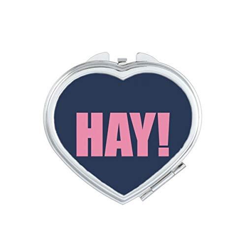 DIYthinker Hay Quote Zwart Moedigen Positieve Hello Hart Compact Make-up Spiegel Draagbare Leuke Hand Pocket Spiegels Gift