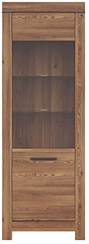 Boardd - Mueble de cristal de pie con pantalla de madera de densidad media (tablero de densidad media), diseño de alerce, 1 puerta de cristal, 68 x 196,5 x 39,5 cm