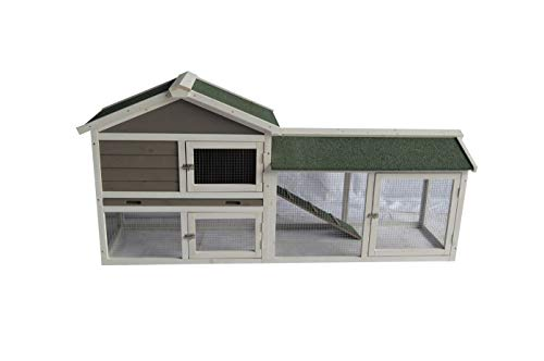 BUNNY BUSINESS The Grove Grey XL Double Rabbit/Guinea Pig Hutch and Run EXTRA LARGE (GREY XL + COVER)