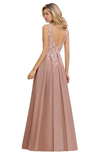 MisShow Abiballkleid Abendkleider a Linie Brautjungfernkleider Elegant für Hochzeit Ballkleider lang mit Spitzen Applique Altrosa 46