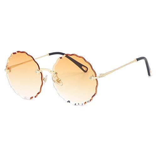 Kaper Go Gafas de sol redondas sin borde protección UV400, unisex, montura dorada, lente degradada (color: amarillo)