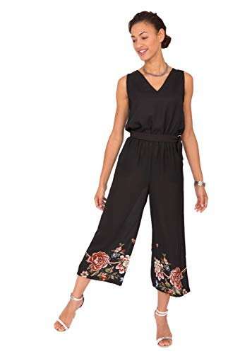 likemary Wide Leg Culotte Jumpsuit Black with Floral XL