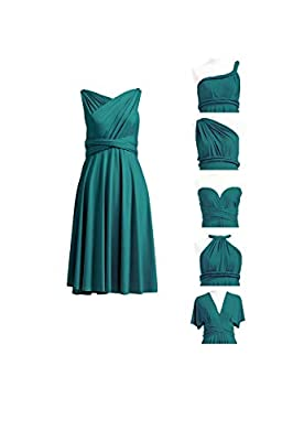 72STYLES Bridesmaid Party Multi-Way Wrap Dress Wedding Formal Gown Prom Cocktail Infinity Short Dress with Bandeau Teal