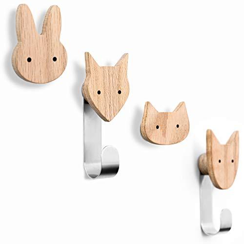 Kleiderhaken für Kinder aus Holz in Tierformen, Eiche, Wandhaken, Garderobenhaken, Garderobe, Kinderzimmer, Tiere, Hund, Katze, Fuchs, Hase, Deko