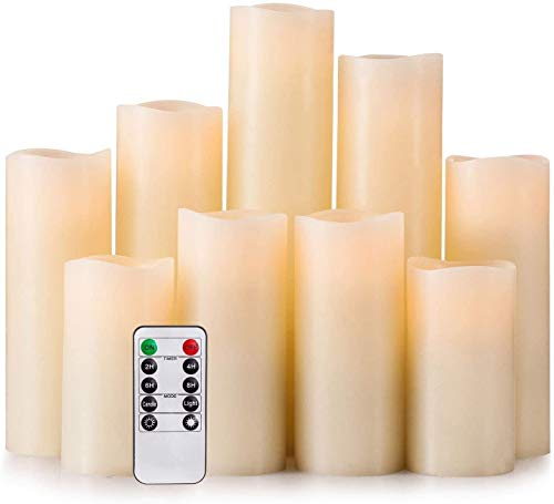 """Hausware Paquete de 9 Velas Sin Llama,Velas con Pilas H 4\""""5\"""" 6\""""7\"""" 8\""""9\"""" Vela de LED Real de Pilar de Cera Que Parpadea con Control Remoto,Marfil -Clase de Eficiencia Energética A"""