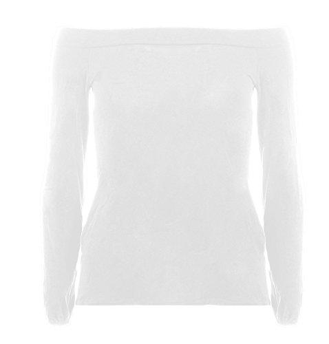 Re Tech UK - Off-shoulder blouse voor dames - Bardot topje - elastische mouwboordjes - effen/meerkleurig