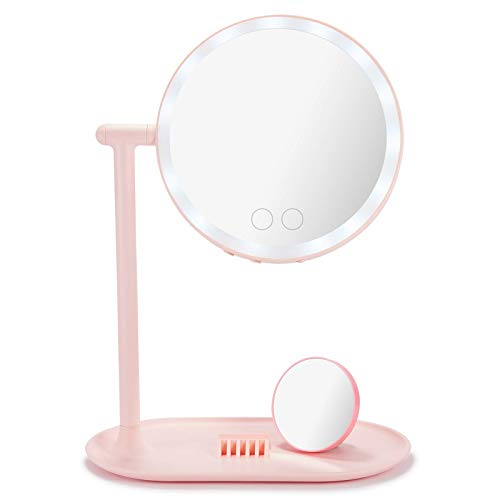 Makeup Mirror with Lights, Double-Sided LED Makeup Vanity Mirror with 10X Magnifying Mirror, Table Lamp, Bluetooth Speaker, 3 Light Colors, 360 Rotation, Storage Tray, USB Rechargeable for Travel
